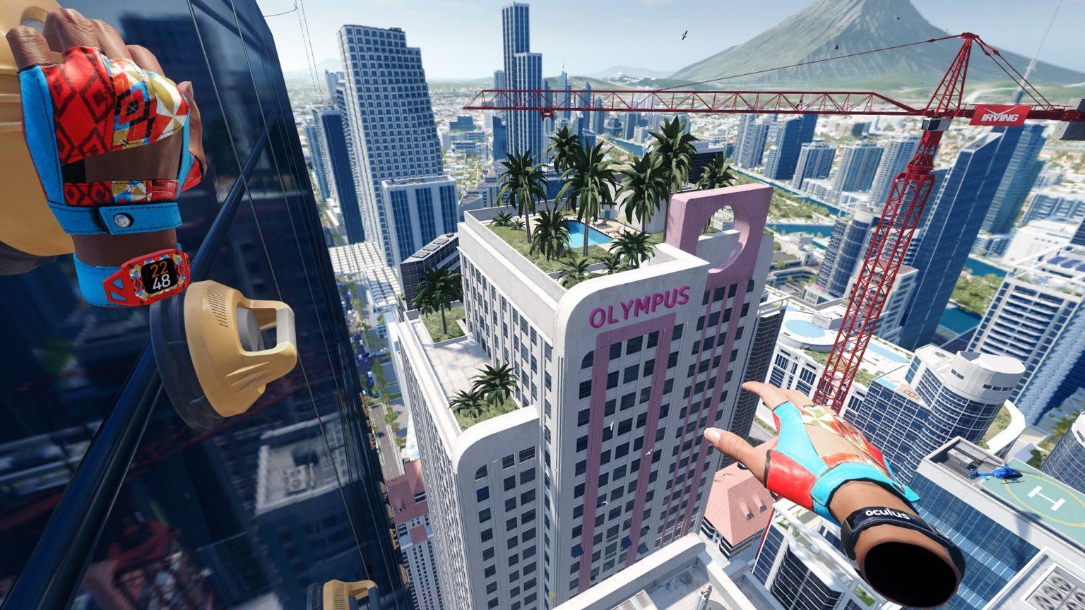 Изображение городского уровня, виден скайбокс позади и модели на переднем плане
